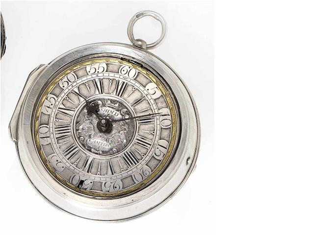 Thomas Shindler. An early 18th century silver pair cased pocket watch  Canterbury, circa 1710