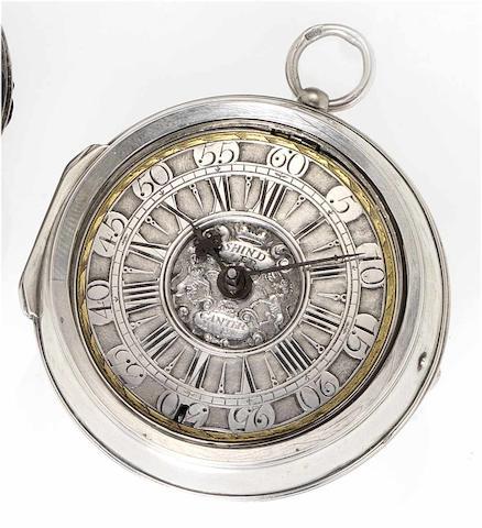 Thomas Shindler. An early 18th century silver pair cased pocket watch  Canterbury, circa 1710