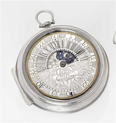 James Corry. An early 18th century silver pair cased pocket watch with Sun and Moon indication  circa 1720