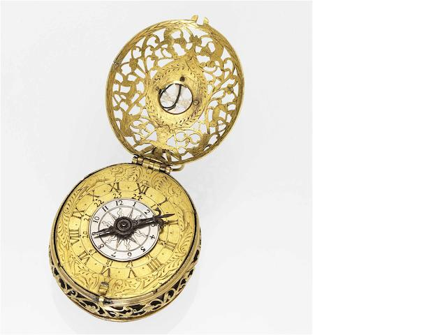 German. A rare late 16th century oval single-hand two-train clock watch with sundial Circa 1595