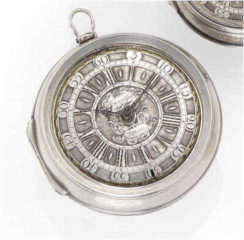 Nathaniel Higginson. An early 18th century silver pair cased pocket watch  London, circa 1700