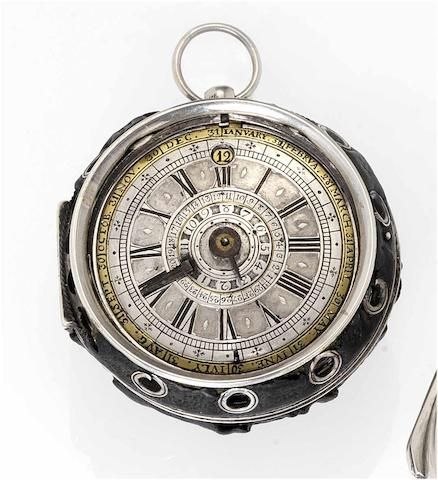 Math. Van Lou. A fine and rare late 17th century alarm calendar pocket watch  circa 1695