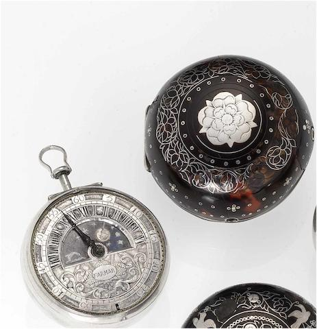 Thomas Farmar. A fine late 17th century silver and tortoiseshell pair cased pocket watch with Sun and Moon indication  circa 1690