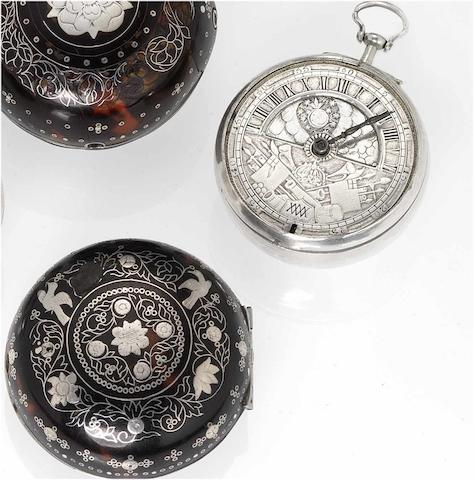 English. An early 18th century silver and tortoiseshell  pair cased pocket watch with Sun and Moon indication   circa 1700