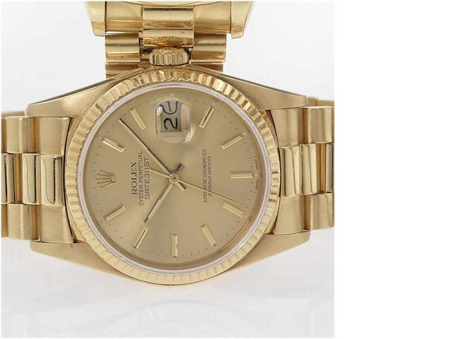 Rolex. An 18ct gold automatic centre seconds calendar bracelet watch  Datejust, 1985