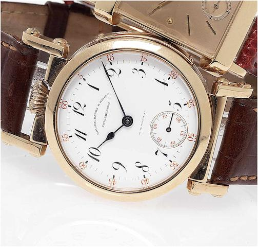 Swiss. An unusual 18ct rose gold conversion wristwatch by Bailey, Banks and Biddle No.75661, 1890's