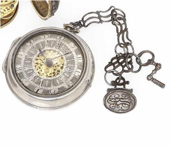 Charles Bayley. An early 18th century silver pair cased pocket watch with original steel chain crank key and seal  London No.109 circa 1720