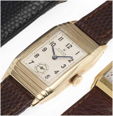 Rolex. A rare 9ct gold rectangular wristwatch Prince Elegante, Glasgow Import Mark for 1933