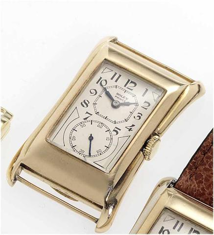 Rolex. A fine and rare 9ct gold rectangular wristwatch  Prince, Ref: 971U Glasgow Import Mark for 1930