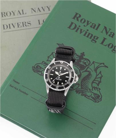 Rolex. A rare and historically interesting stainless steel automatic centre seconds Royal Navy Military Issue divers watch with Royal Navy Divers log book and photographic records relating to Military exercises including the Falklands War Submariner, Ref: 5513, Case No.3927165, Made in 1972, Issued in 1975