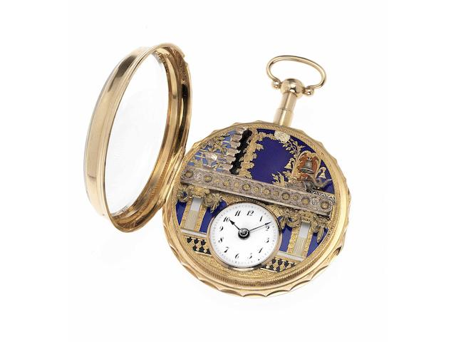 Swiss. A fine and very rare early 19th century 18ct gold and enamel decorated quarter striking pocket watch with a concealed automaton Jack   Case stamped P&S 2248, circa 1810