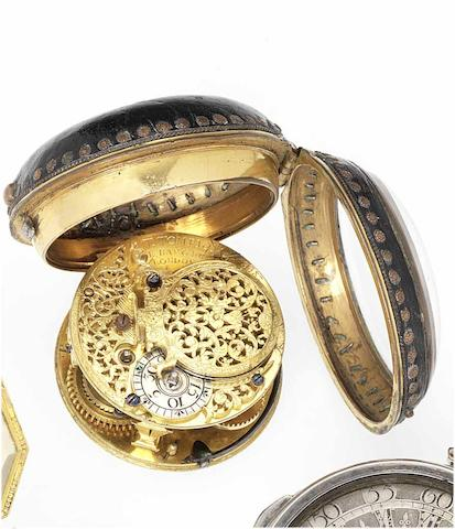 Tompion & Banger. An early 18th century verge pocket watch movement in an associated consular case  London No.3387, circa 1720