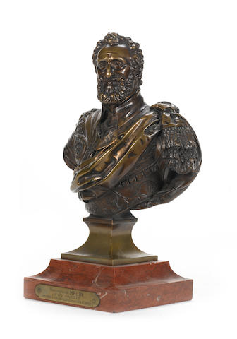 After Barthélémy Tremblay (French, 1578-1629): A 19th century bronze bust of Henri IV of France