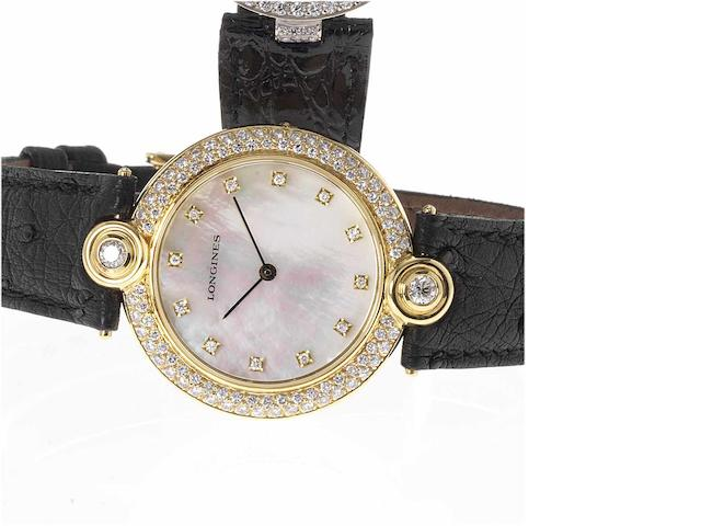 Longines. A fine lady's 18ct gold diamond and mother of pearl set wristwatch  1980's