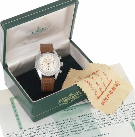 Rolex. A very fine and rare stainless steel triple calendar chronograph wristwatch together with Rolex box and rare Guarantee papers Oyster Chronograph, Anti-Magnetic, Ref.6036, Case No.917856, Made in 1952.