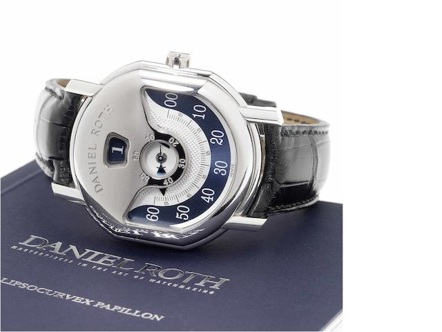 Daniel Roth. A fine and rare limited edition platinum jumping hour wristwatch together with fitted presentation box and Certificate of Origin   Papillon, Ref:318.Y.70.351.CM.BD, Limited Edition 64/80, Sold 2007