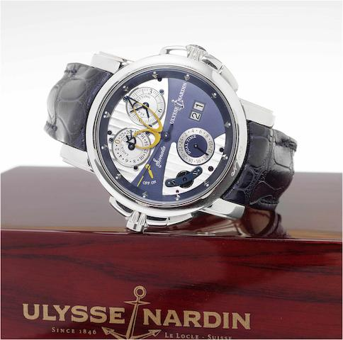 "Ulysse Nardin, A very fine and rare center seconds automatic  two-time-zone, 18ct white gold wristwatch with 24-hour alarm function, alarm countdown, large date and an 18ct white gold Ulysse Nardin deployant clasp ""Sonata Cathedral Dual Time"", No. 603, Ref. 670-88.  Production of this reference started in 2003, Sold September 26 2007"