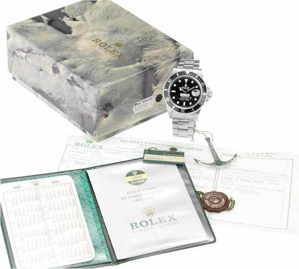 Rolex. A rare stainless steel automatic centre seconds divers watch made for Comex together with original fitted box, swing tag, and anchorSubmariner, 'Comex 6137' Ref:16800, Serial No.8269551, 1983