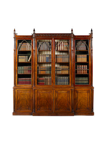 A Regency carved mahogany Breakfront Library Bookcase attributed to Gillow