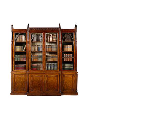 A late Regency mahogany Gillows breakfront bookcase