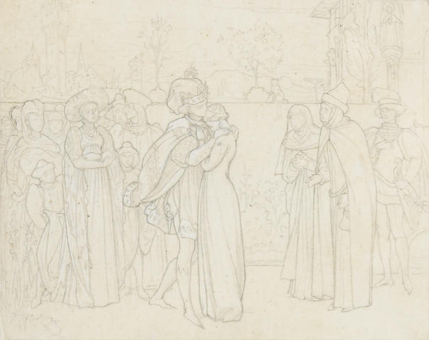 Frederic, Lord Leighton, PRA (British, 1830-1896) A study for an illustration containing figures in historical costume