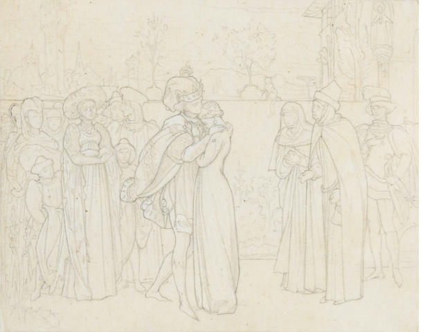 Frederic, Lord Leighton, PRA (British, 1830-1896) A study for an illustration containing figures in