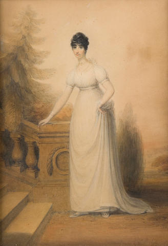 "James Green (British, 1771-1834) inscribed to the reverse: A portrait of Mary Ann Hasted, wife of Reverend Hasted, Rector of Horringer Suffolk and only daughter of The Reverend J. Ord of Fornham Suffolk, bone at Buckden Palace, when on a visit to the Bishop of lincoln"" watercolour, signed,"