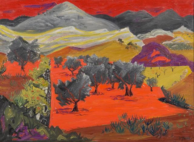 Frederick Gore R.A. (British, born 1913), Olive grove, Majorca