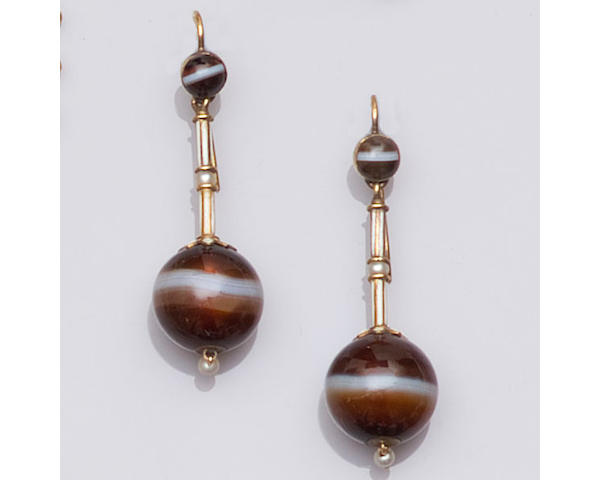 A pair of mid-Victorian banded agate and enamel earpendants