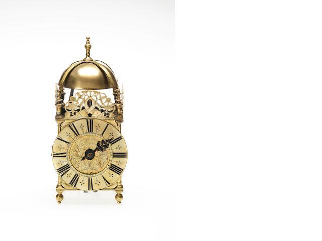 An 18th century brass lantern clock Thomas Power, Wellingborrow (Wellingborough)
