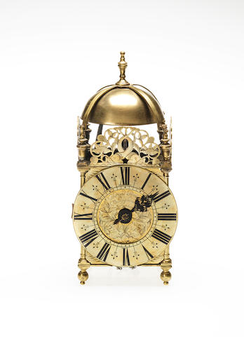 An 18th century brass lantern clock Thomas Power, Wellingborrow (Wellingborough)
