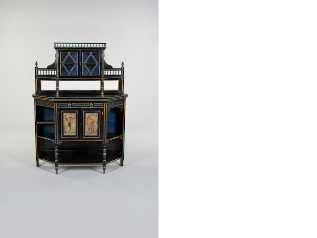An ebonised sideboard, English, late 19th century,