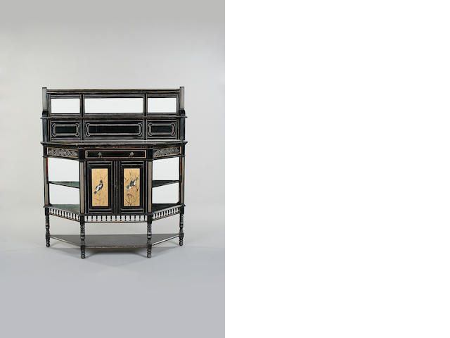An ebonised an gilt lined  side cabinet, English, late 19th century