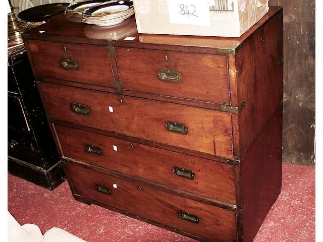 A 19th century brass bound teak military chest