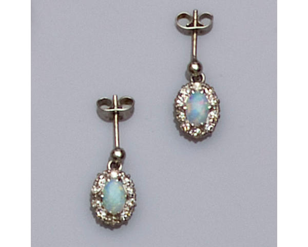 A pair of opal and diamond cluster drop earrings,