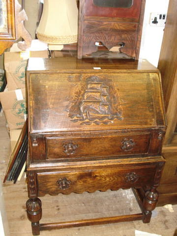 An oak bureau,