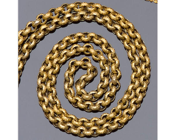 A 19th century fancy belcher-link long chain