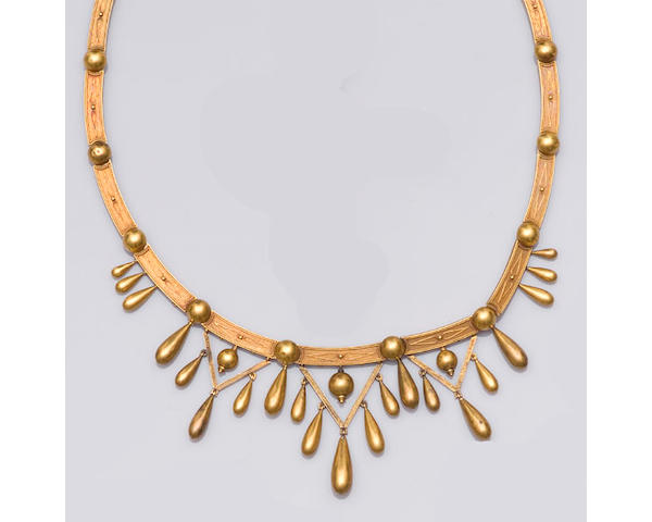 A Victorian gold Etruscan style collar necklace