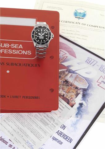 Rolex. A rare stainless steel automatic centre seconds divers watch made for Comex together with divers log books and photographic history  Sea-Dweller, 'Comex 2111' Ref:1665, Case No.5586521, 1978