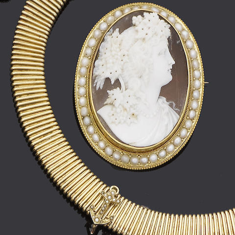 A late 19th century shell and seed pearl cameo brooch/pendant and a late 19th century gold collar necklace,