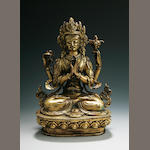 A Sino-Tibetan gilt copper figure of Avalokitesvara Sadaksari  early 20th century