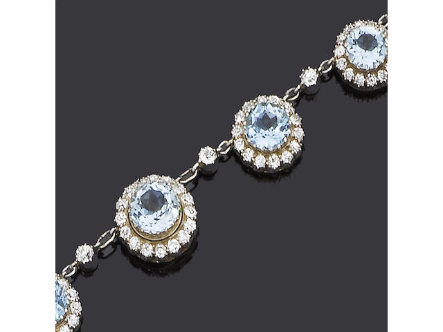 An early 20th century aquamarine and diamond necklace