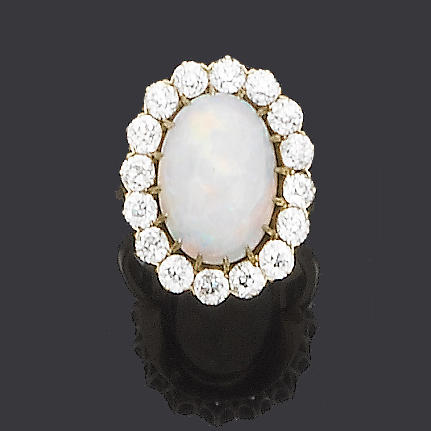 An early 20th century opal and diamond cluster ring,