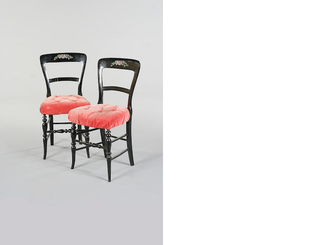 A set of six balloon back, ebonised side chairs, English, late 19th century,6
