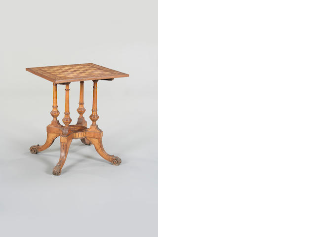 A marquetry games table, English, circa 1900,
