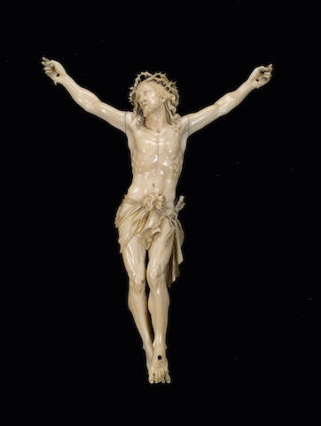 A late 18th / early 19th century German/Flemish carved ivory Corpus Christi