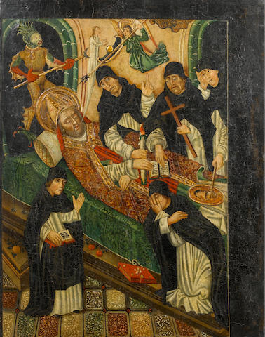 Catalan School, 15th Century The Death of a Bishop Saint