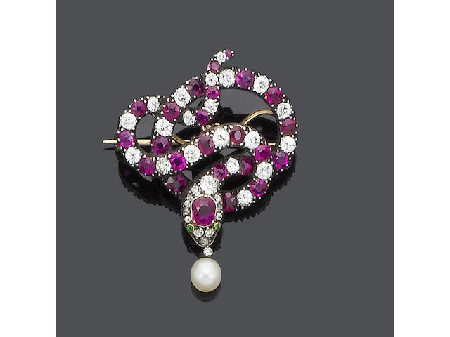 A 19th century ruby and diamond brooch/pendant,