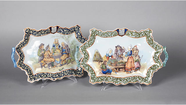 Two French faience two handled dishes