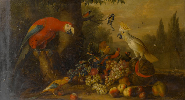Studio of Jakob Bogdani (Eperjes 1660-1724 Finchley) A parrot, a blue tit and other birds